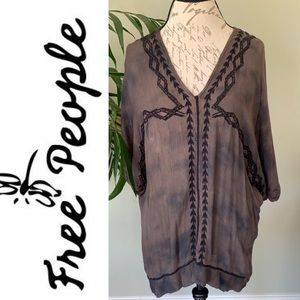 Free People Brown Dye Embroidered Tunic